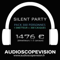 Louer Pack Silent Party Disco 300 personnes, émetteur 3 canaux