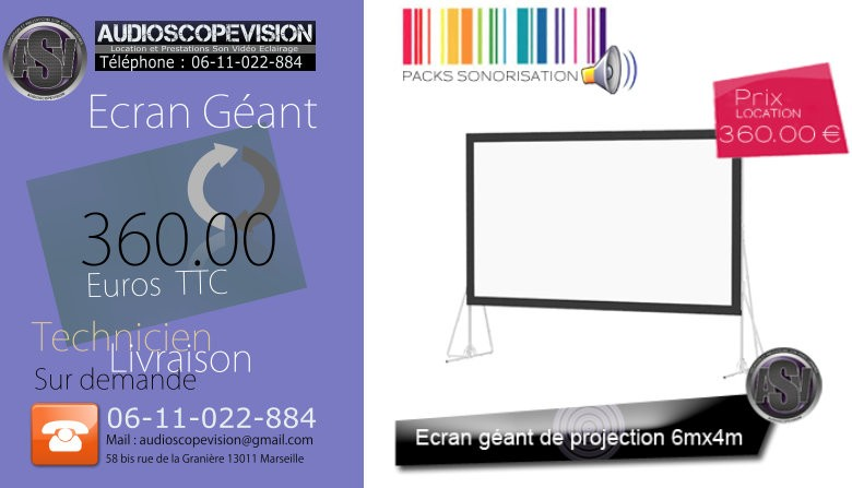 Louer écran géant de projection, 6m x4m, sur pied, 6x4, 6mx4m Marseille